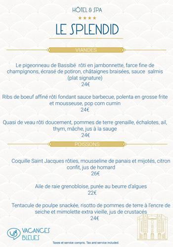 carte viandes et poissons restaurant splendid dax